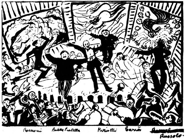 2 futurist plays Kennedy Center Theater boccioni cartoon drawing of futurist serata